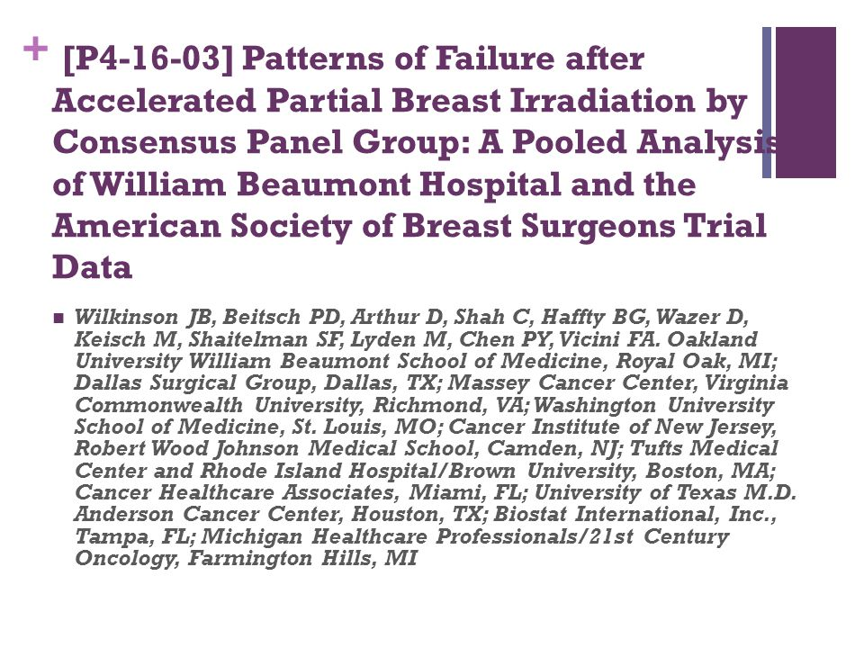 [P4-16-03] Patterns of Failure after Accelerated Partial Breast Irradiation by Consensus Panel Group: A Pooled Analysis of William Beaumont Hospital and the American Society of Breast Surgeons Trial Data